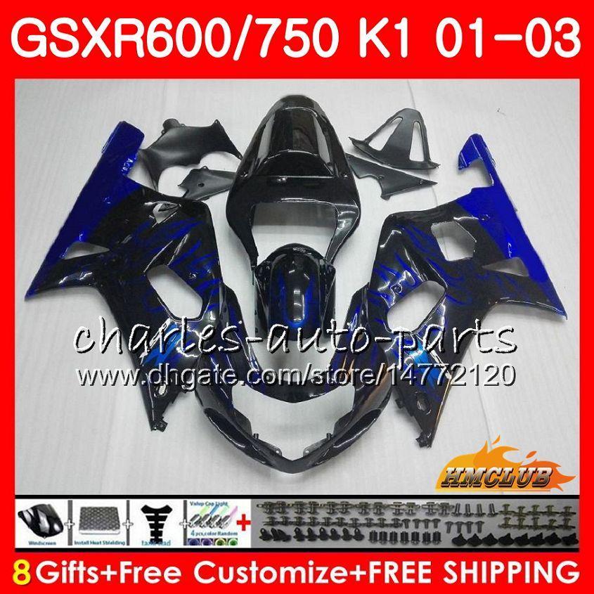 8ギフトボディfor Suzuki GSX-R750 GSXR 600 750 GSXR600 01 02 03 4HC.8 GSXR-600 K1 GSX R750 GSXR750 2001 2002 2003 Blue Flamesホットフェアリングキット