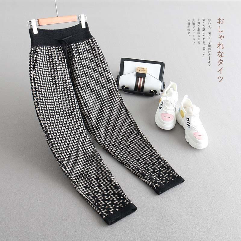Ispessimento Mantenere caldo Imitare visone Pantaloni in maglia di cashmere Inverno Suit-dress Controllare Pantaloni per il tempo libero di auto-coltivazione Jh8023.