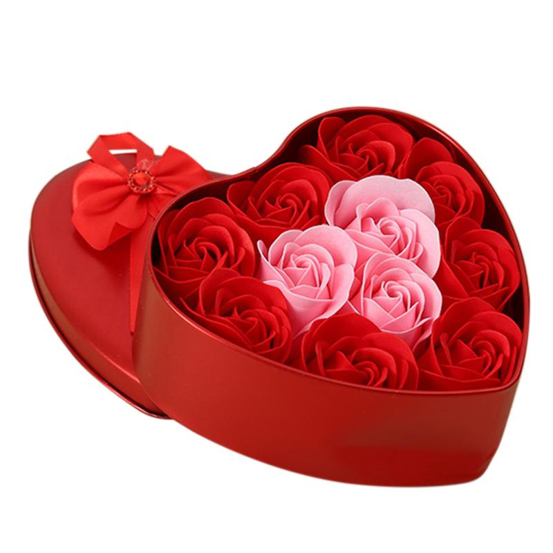 11Pcs/Box Artificial Flowers Rose Soap Flower Heart Shape Diy Wedding Decoration For Souvenir Valentines Day Gifts Flore-Red