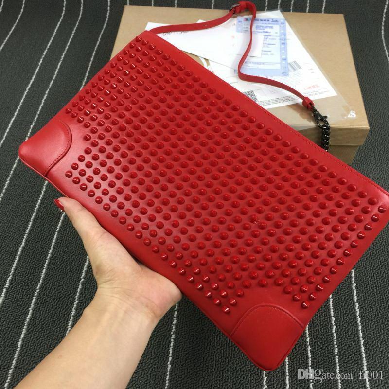 Donne Catene Rosso colore di fondo del sacchetto di spalla Rivetti Borse di lusso vera pelle di alta qualità Spike frizione Stud Rivetti Messenger Bags