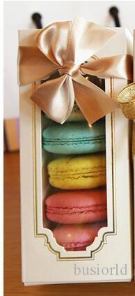 Fırın Cupcake için 200pcs Macaron Kutusu Kek Kutusu Bisküvi Muffin Box15.5 * 6.5 * 5cm Ev Yapımı Macaron Kağıt Parti Kutular