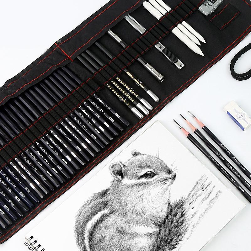 17 Карандашный рисунок Карандаш набор живописи Углерод Pen Tool Pen занавес Art Supplies Полный набор знаний учащихся костюмы SH190919