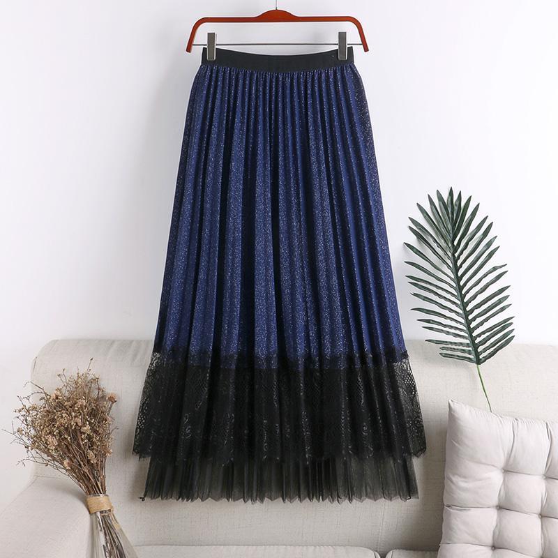 2020 New Arrival High Waist A-Line Women Skirts Harajuku Ulzzang Lace Patchwork Female Skirt Streetwear Faldas Mujer