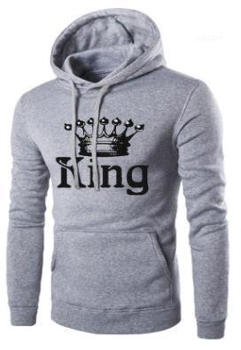 Königin druckte mit Kapuze Sweatshirts Pullover Liebhaber Hoodies Herrenmode Frühling König