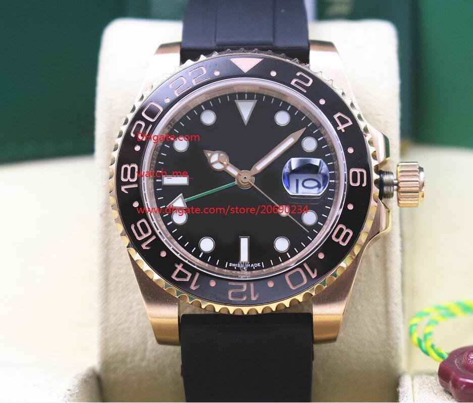 Livraison gratuite usine fournisseur Montres-bracelets en or rose 116710 GMT Bracelet en caoutchouc noir en céramique Cadran 40MM automatique Mens Watch Montres