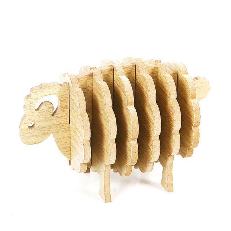 Sheep Shape Non-heat Coasters DIY Placemat Coffee Cup Pad Handmade Wood Animal Shaped Anti Slip Table Mat