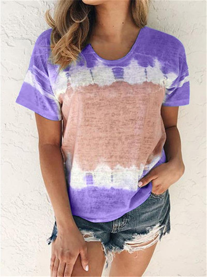 Для женщин Дизайнер Щитовые Tshirts Мода Контраст Цвет печати Tops коротким рукавом Экипаж шеи смазливая Повседневный Девушки Undershirt