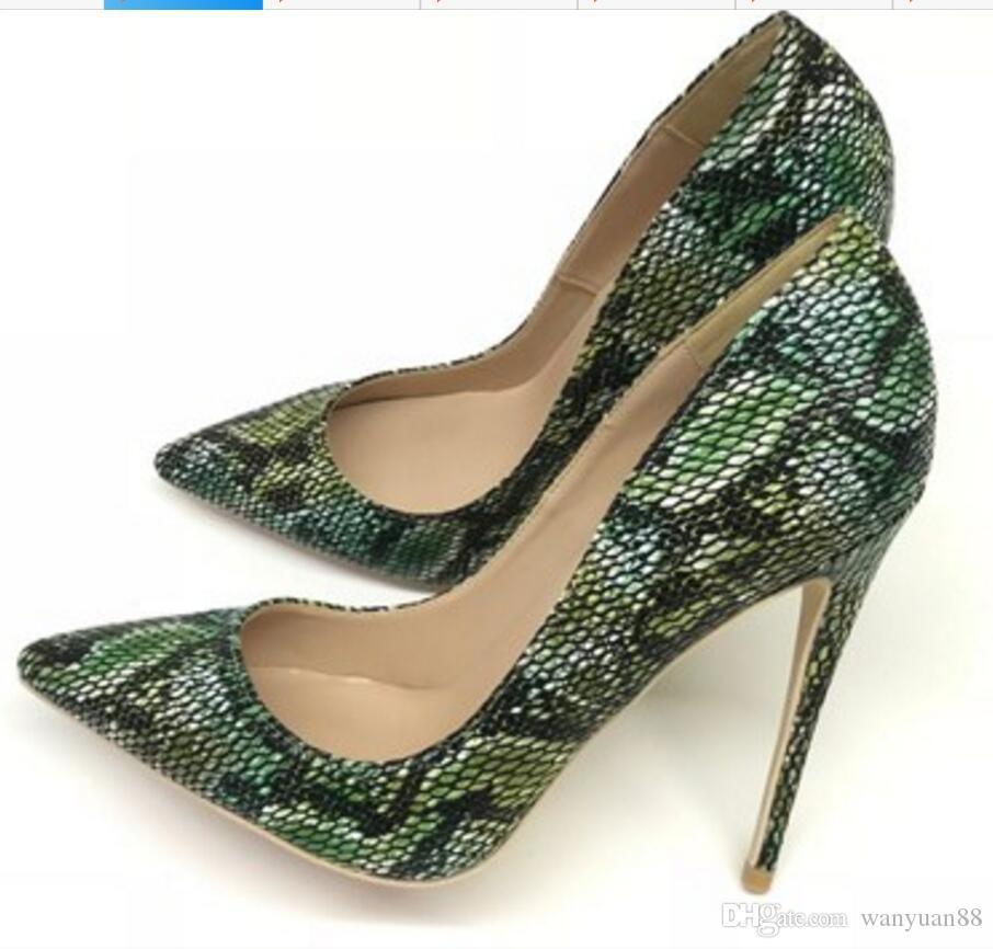 2019 новый тип зеленые женские туфли на каблуках 12см 10см 8см большой размер 45 Cusp Тонкий каблук Одиночные свадебные ночной клуб невесты Красные нижние туфли