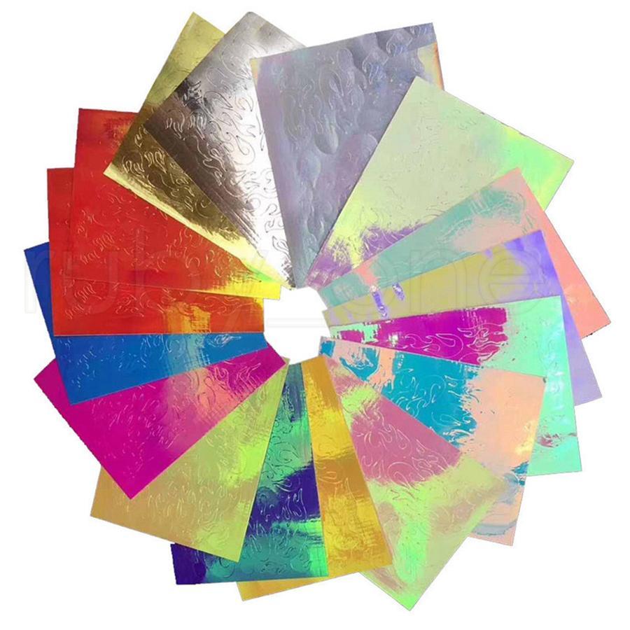 16PCS مسمار لهب ملصق ملون الأظافر ملصقات الليزر الشعلة ملصق مسمار أدوات الفن للنساء RRA1933