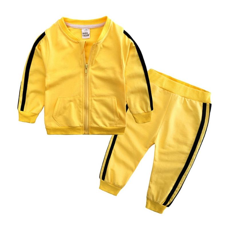 Toddler Tracksuits Casual Kids Sports Coat Pants 2pcs Sets Long Sleeve Boys Activewear Solid Girls Outfits Boutique Baby Clothing YW3617Q