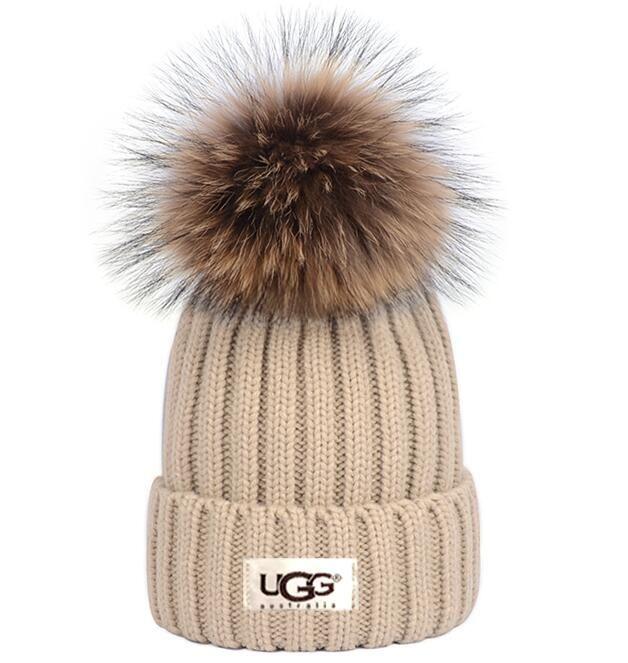 15cm 실제 너구리 모피 기억할만한와 Gorro 보닛 겨울 니트 리얼 모피 모자 여성이 두꺼워 비니는 소녀 캡을 따뜻하게 스냅 백 퐁퐁 비니 모자