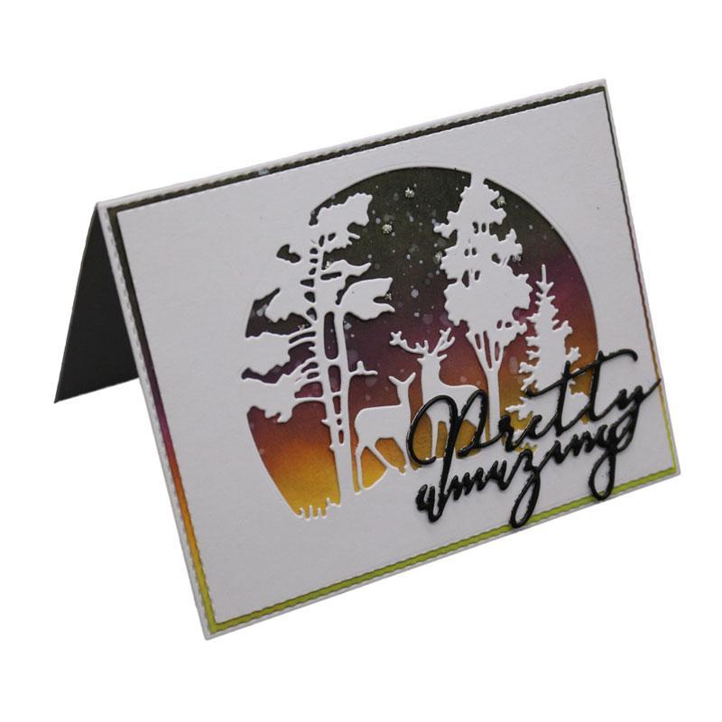 DIY Metallschneideisen Weihnachtsbaum Deer Stencil Scrapbook Card Album Papierpräge Crafts Prägeschneidewerkzeug stirbt