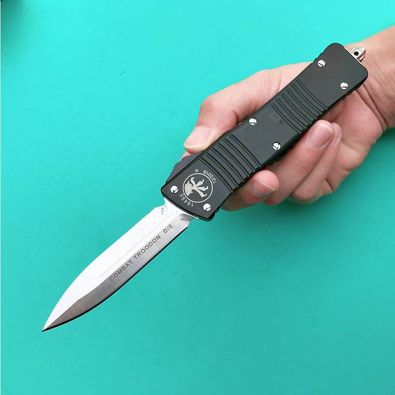 전투의 TROO-DON D / E 마이크로 기술 칼 더블 액션 자동 칼 전술 포켓 M390 블레이드 나이프 6061-T6 알루미늄 핸들을 조작