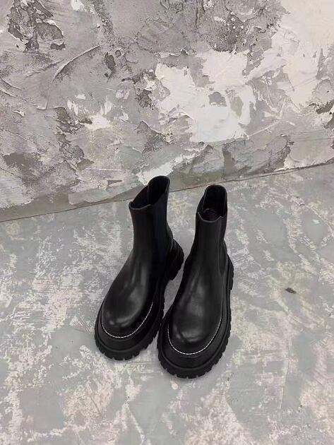 Frau London England Britisches echtes Leder Ankle Boot Chunky Sole runde Zehe elastische Seiten Insets Neue Schuhe 35-39
