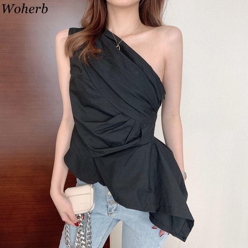 Woherb 2020 Summer New Sexy One Shoulder Blouse Women Asymmetrical White Black Shirt Korean Office Party Solid Blusas Streetwear