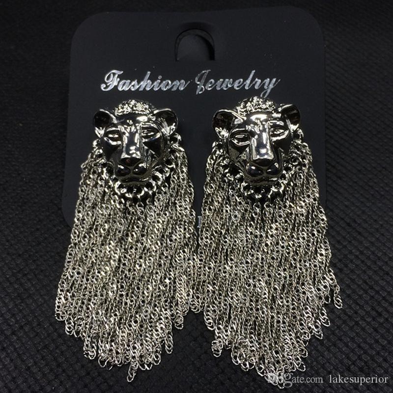 Frauen Löwe-Kopf-Luxus-Ohrring-langkettige Troddel Designer Ohrring für Geschenk-Partei Famous Schmuck Accessoires