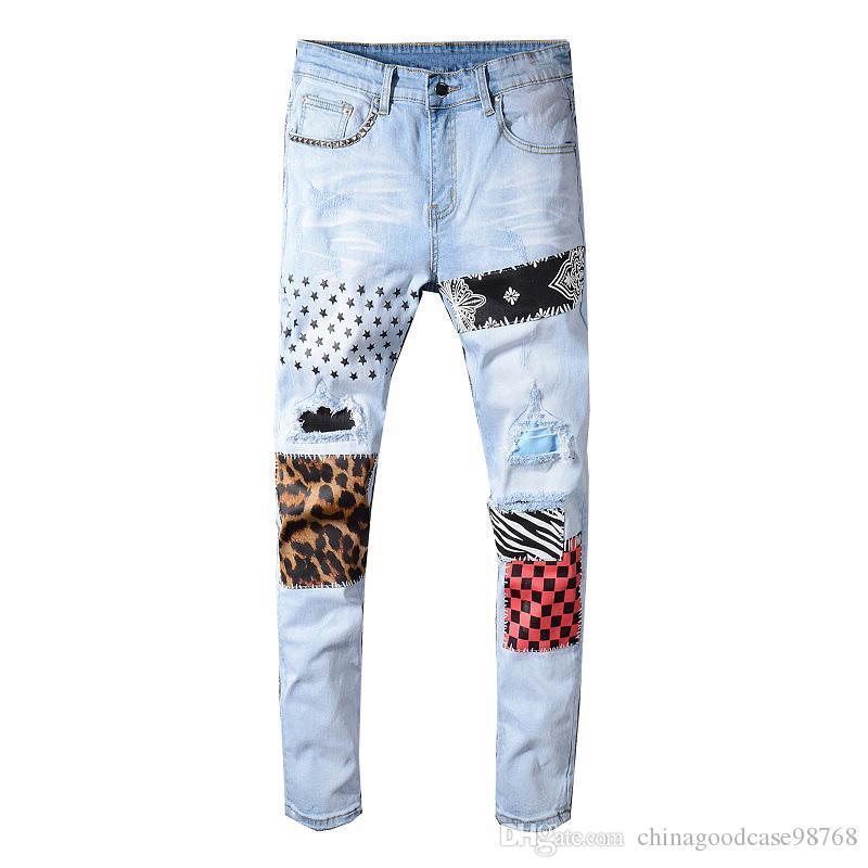 Men's stars printed leopard patchwork rivet slim jeans Light blue holes ripped skinny stretch denim pants Trousers