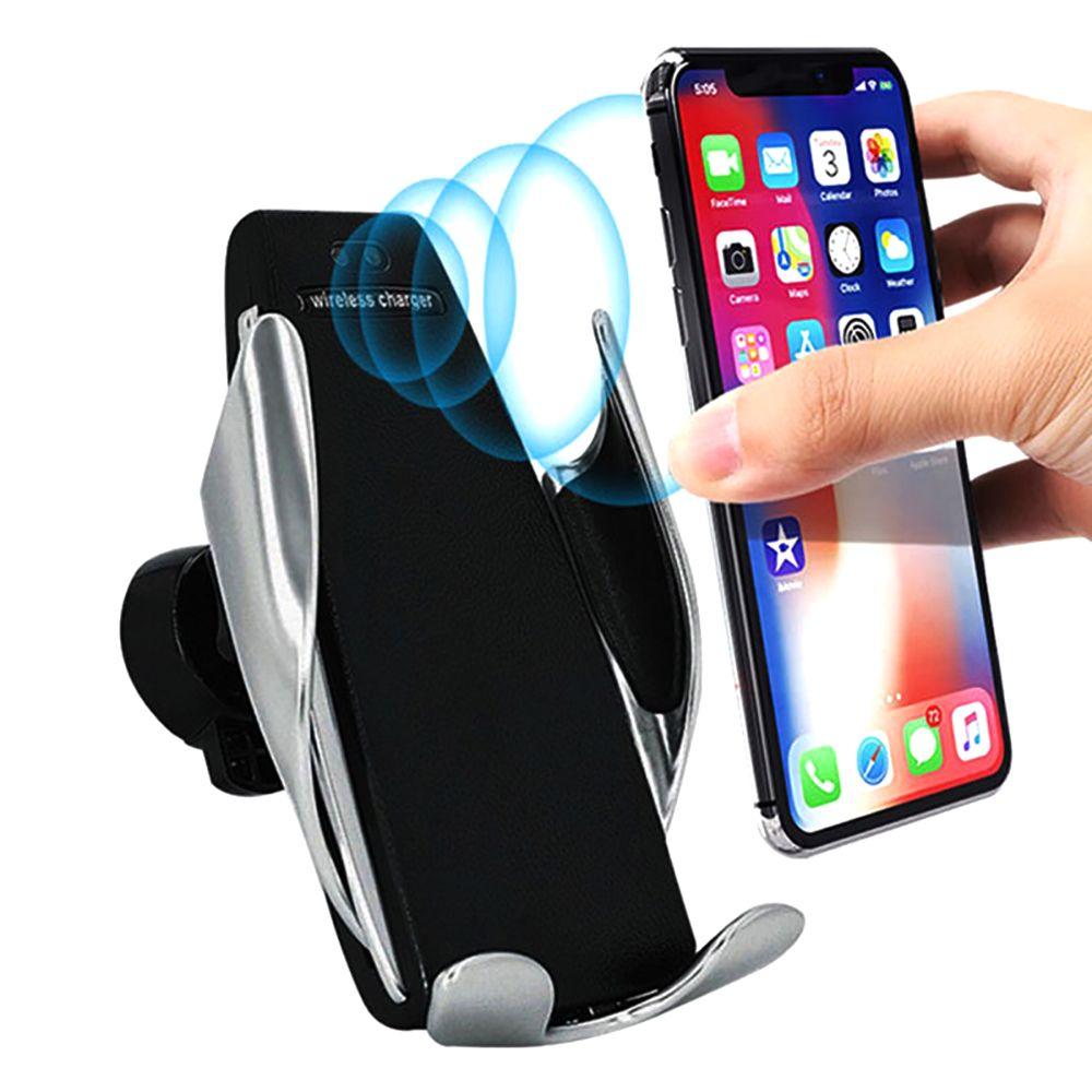 S5 자동 클램핑 무선 자동차 충전기 홀더 수신기 탑재 스마트 센서 10W 패스트은 iP 삼성 유니버설 전화를위한 충전기를 충전