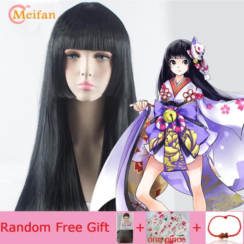 Kadınlar için Bangs Sentetik Mor Cadılar Bayramı Lolita Anime Parti Peruk ile Meifan Uzun Düz Cosplay Peruk