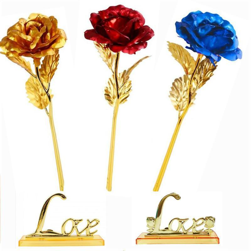 Regalos artificial hoja de oro plateado Rose Rose creativas de flores para regalos del día de Navidad boda decoración del hogar
