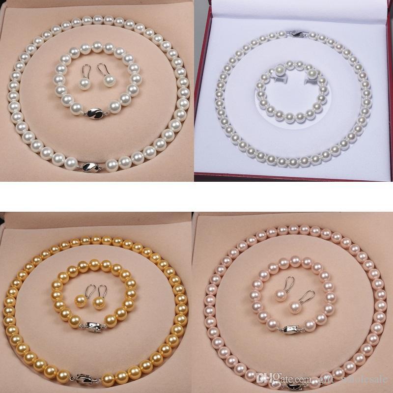 Высокое качество натуральной оболочки бисер женщины свадебное ожерелье браслет и серьги свадебные украшения наборы 5 стилей на выбор