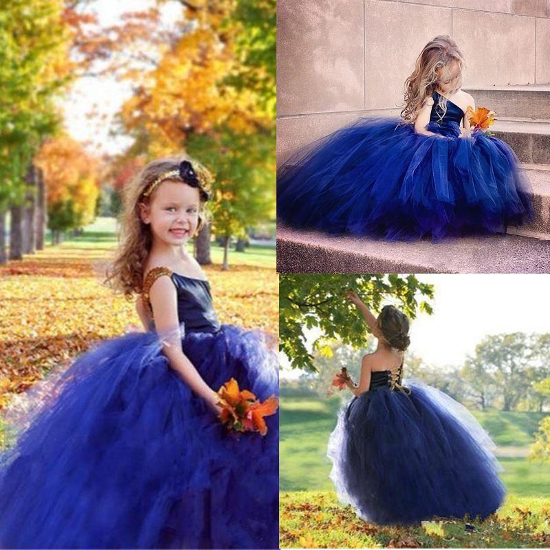 الأزرق الملكي زهرة فتاة فساتين للأطفال الصغار واحدة الكتف تول كب كيك مسابقة أثواب الزفاف للحصول على العودة ربط الحذاء حتى بالتواصل فساتين