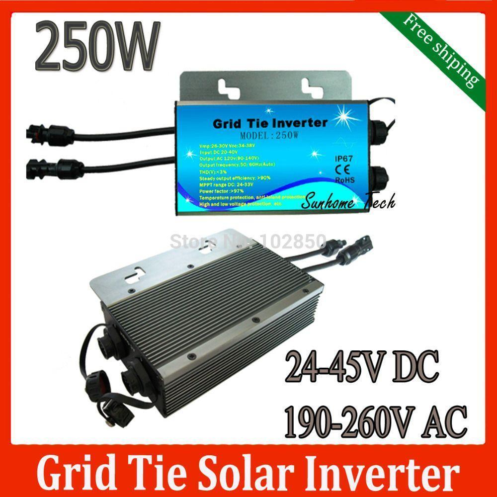 Freeshipping Solar PV On Grid Inverter DC24-45 V to AC230V 250W Solar Grid Tie Micro Inverter,water proof IP67