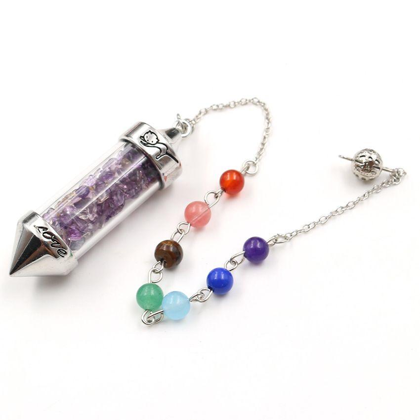 5 Pz Pendolo per il pendente bottiglia Dowsing dei desideri con perline di pietra catena Lapis molti colori della pietra del quarzo Gioielli