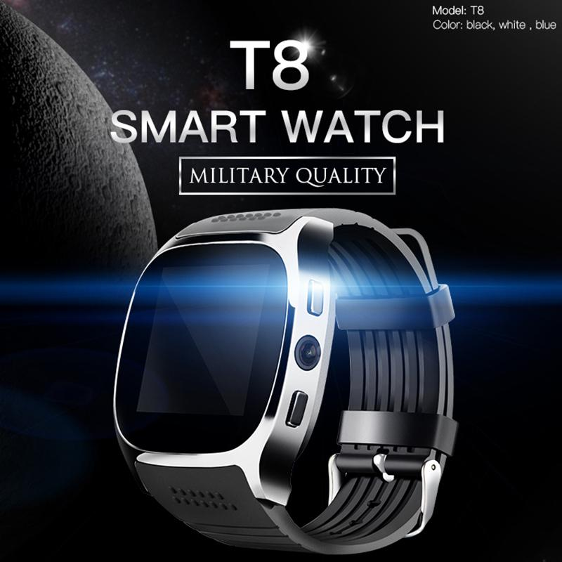 2019 T8 Bluetooth Smart Watch With Camera Music Player Facebook Whatsapp Sync Sms Smartwatch Support Sim Tf Card For Android Etc Y19051603