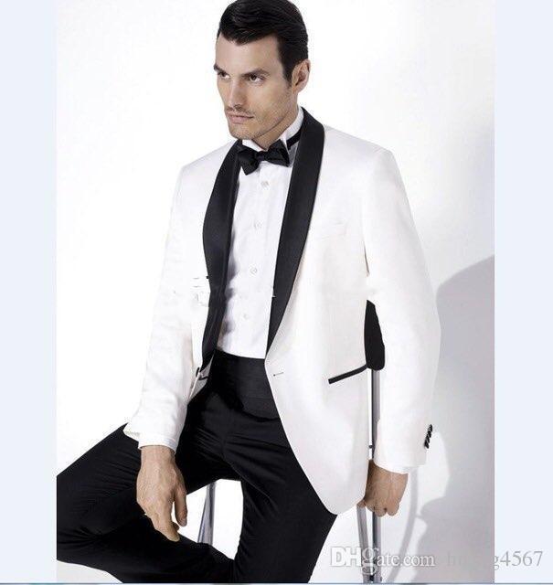 새로운 한섬 원 버튼 아이보리 웨딩 신랑 턱시도 어깨 걸이 옷 깃이 신랑 들러리 남성 복장 댄스 파티 재킷 (자켓 + 바지 + 넥타이) 222