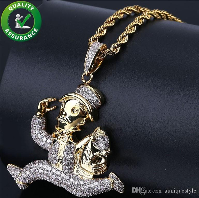 Hip Hop Jewelry Mens Iced Out Pendant Luxury Designer Necklace Gold Plated Carton Runner Micro Pave CZ Pendant Chain Wedding Accessories