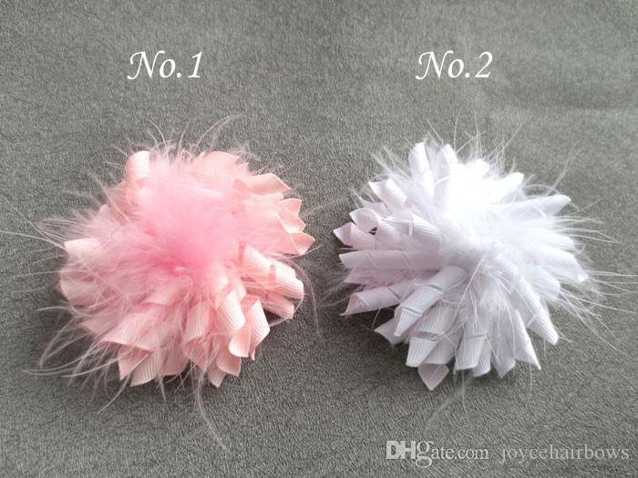 Das freie neue Verschiffen 35pcs Mädchen 3.5 '' Feder Haarbögen Farben Clips Corker mischen korker Mode Mädchen Federhaarbögen