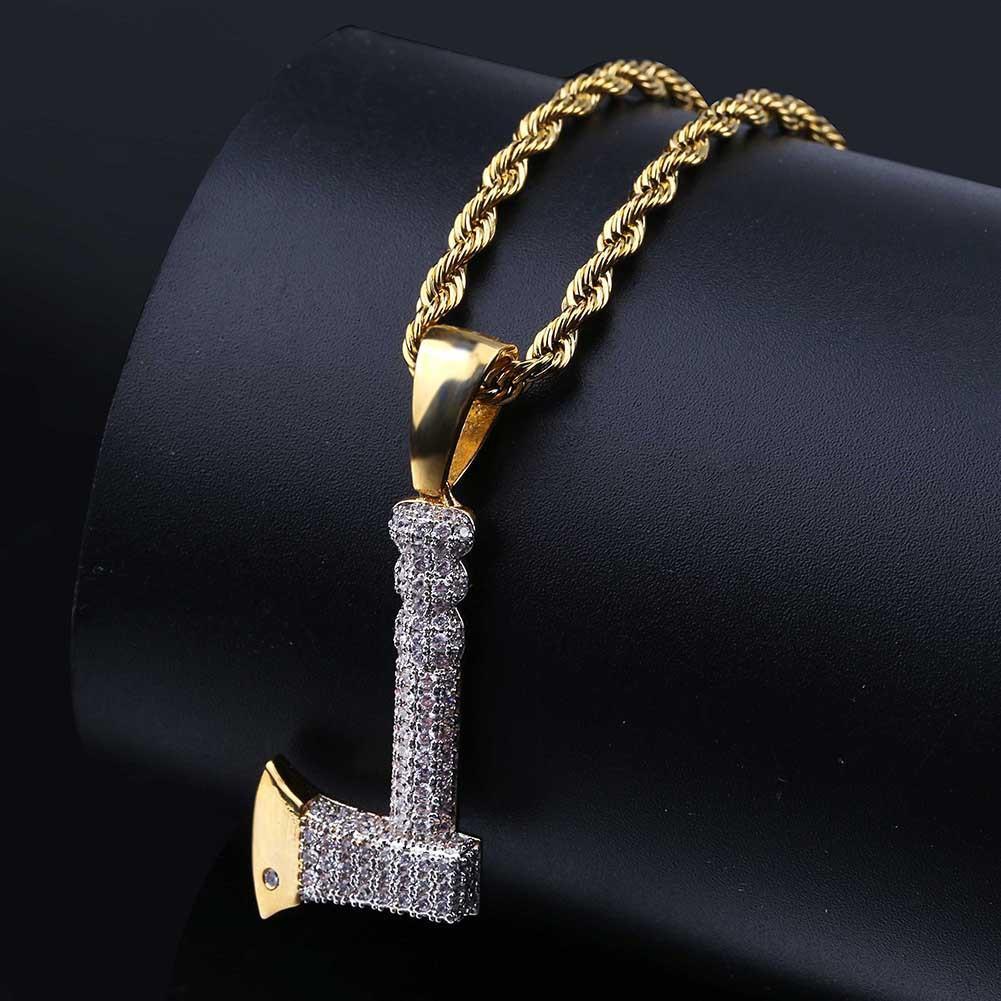 Personalidade Retro Ax Forma Hip Hop Colar Pingente 18K banhado a ouro Bling CZ simulada diamante Hip Hop Rapper Cadeia Colar para as Mulheres Homens