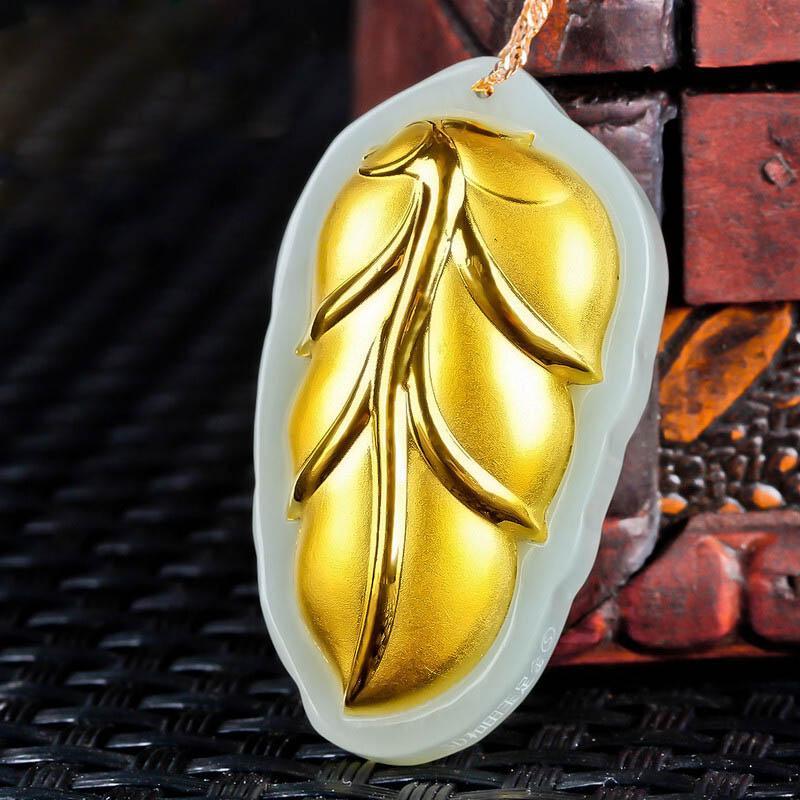 XinJiang Hetian Jade lascia ciondolo oro giada JinZhiYuYe ciondolo collana per donna uomo oro 24K gioielli