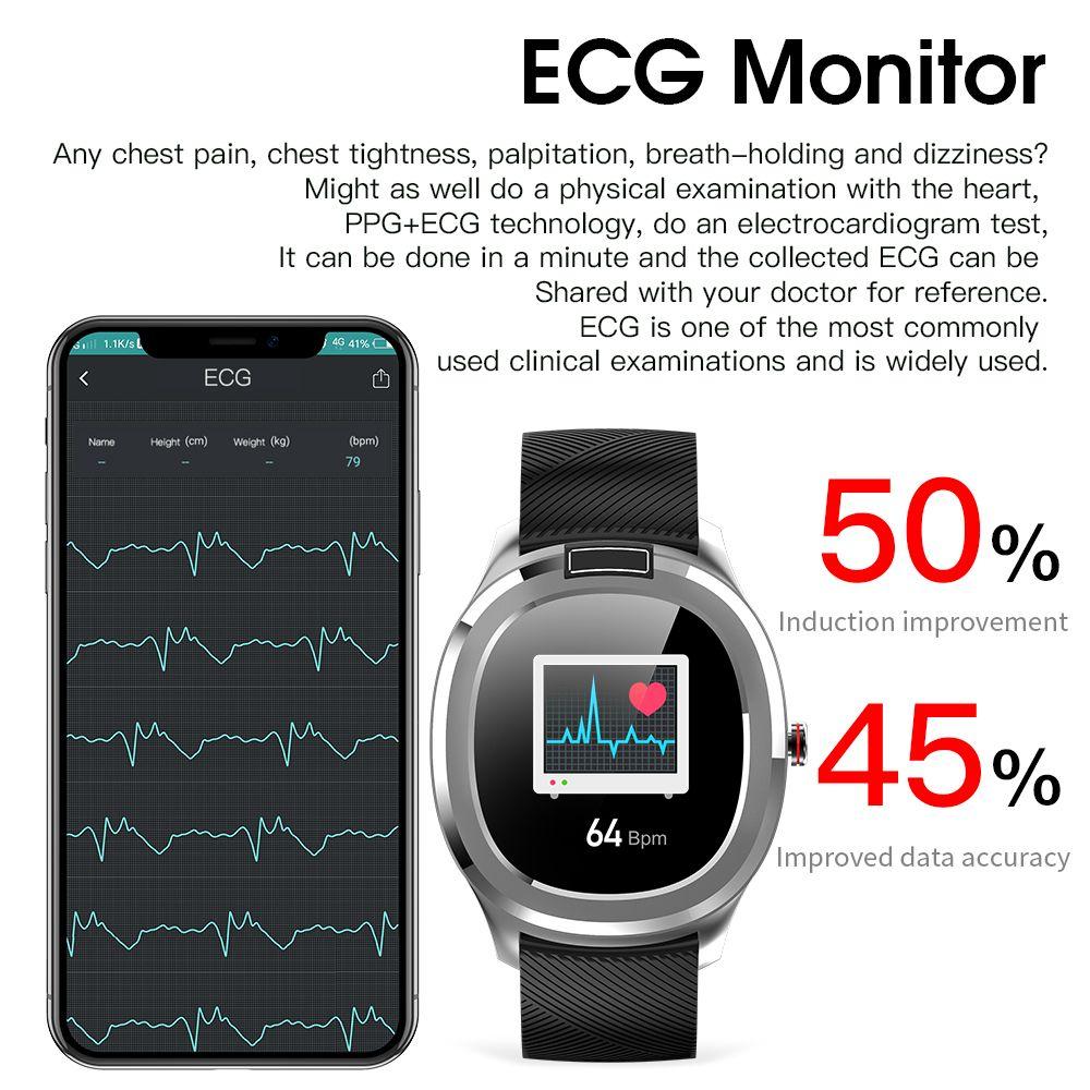 ECG PPG الذكية ووتش سوار الجسم الحرارة درجة الحرارة معدل ضربات القلب وضغط الدم / الأوكسجين مراقبة نشاط مقاوم للماء الفرقة تسجيل للياقة البدنية