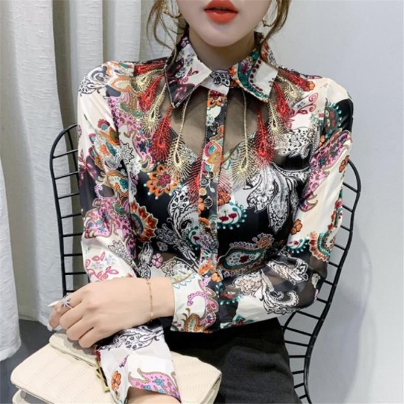 2020 Весна новых ретро цветочных рубашек Женщина Perspective Mesh Сращивание печать рубашка Мода Кружево шифон рубашка Женщина Блуза вскользь Top High Quali