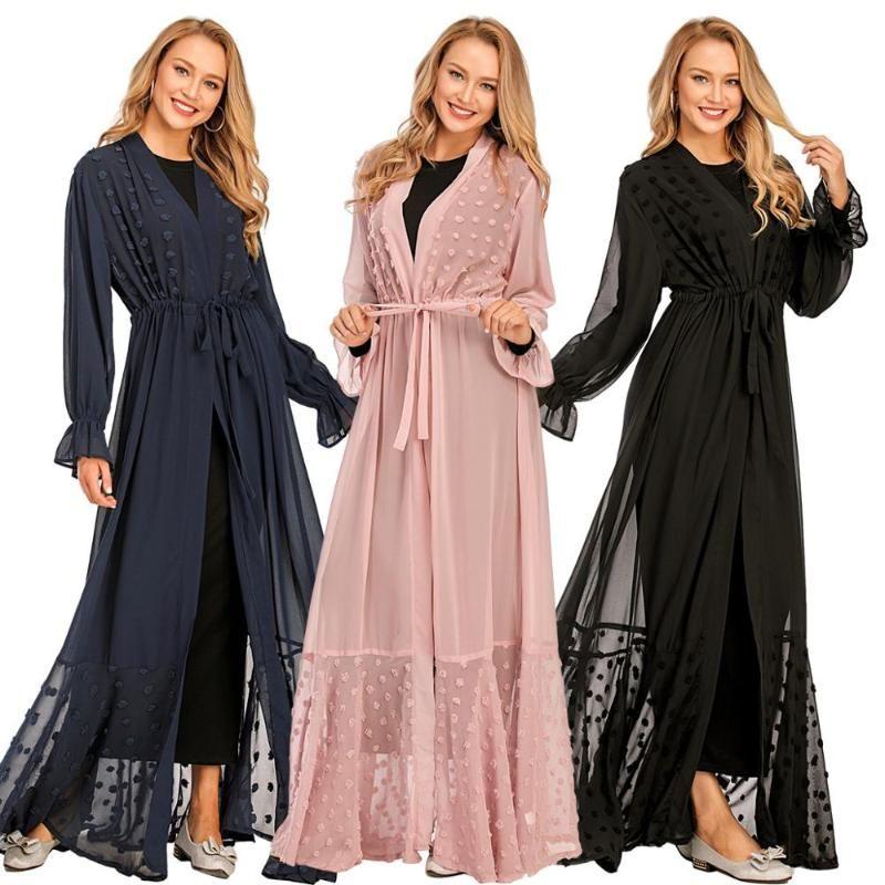 Nueva llegada islmaic kimono bata musulmanes abaya precioso vestido abierto Kaftan Turquía Hijab Abayas ropa islámica linda Diseño F1718