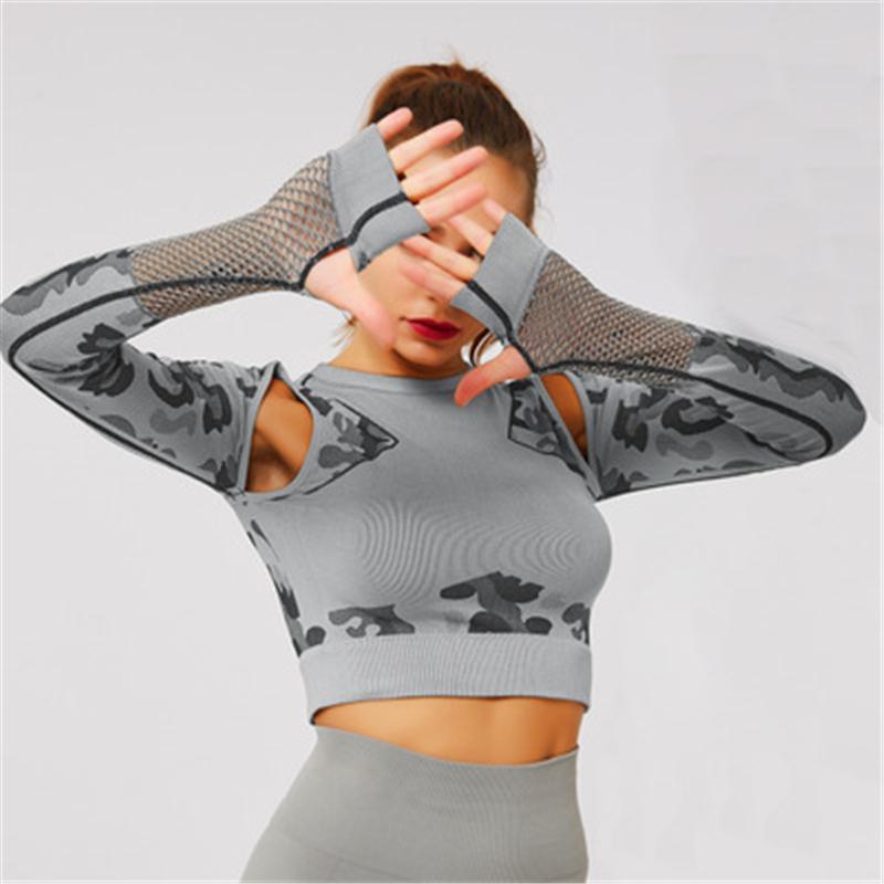 Yoga Tops Mujeres aptitud deportiva de malla activo desgaste de manga larga Tops Deportes la camisa del entrenamiento Correr Correr el Athletic Ropa Mujeres