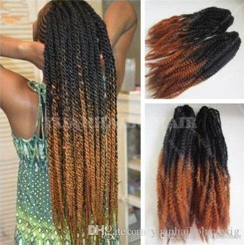 12 Packs Vollen Kopf zwei Ton Marley Braid Haar 20 Zoll Schwarz Braun #30 Ombre Synthetische Haarverlängerungen Kinky Twist Flechten Express Verschiffen
