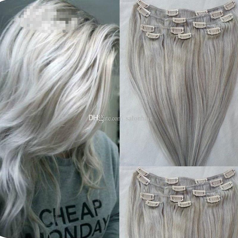 Clip En Extensions De Cheveux Réels De Cheveux Humains Argent Gris Couleur Clip Sur La Pleine Tête 7PCS 120g Soyeux Droite Trame Remy Cheveux