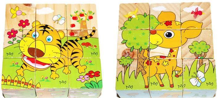 Wooden 3D dreidimensionales Puzzle Cartoon Tier neun Stücke von sechsseitigen Puzzle Spielzeug für frühkindliche Bildung