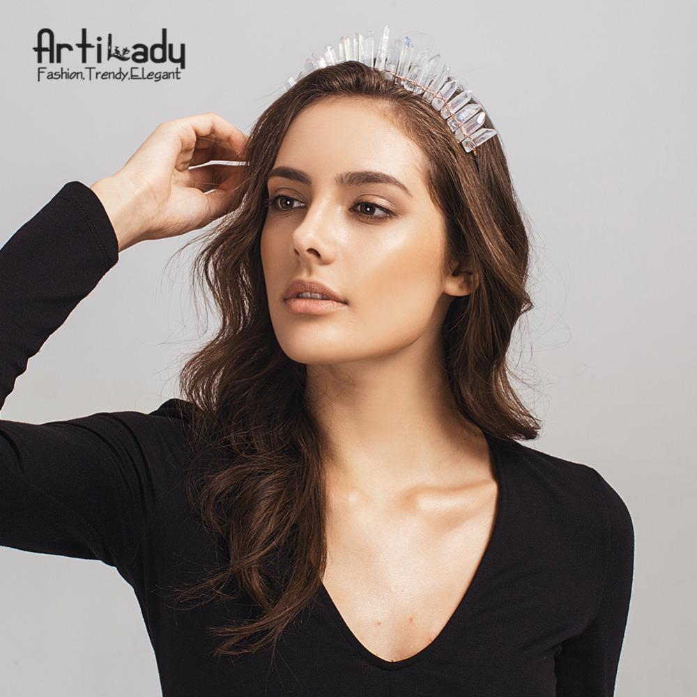 Artilady Raw Crystal Hairbands Handmade Crown Tiara Headbands Angel Crown Hair Jewelry For Women Dropshipping Y19051302