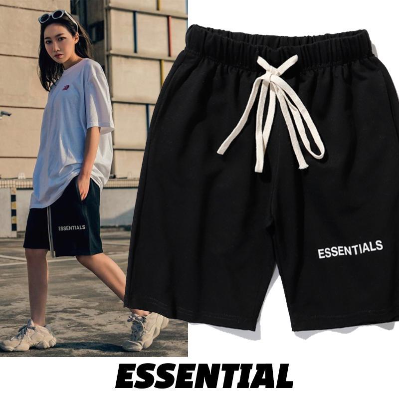 Essenziale semplice nero shorts high street moda uomo e donna Essenziale coulisse alfabeto pantaloni della tuta T200422