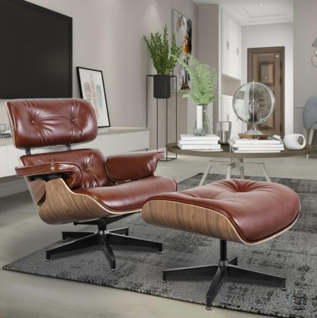 De alta calidad de cuero genuino completa, de alta densidad laminado de madera y una esponja gruesa para el sillón y otomana, proporcionan un confort óptimo