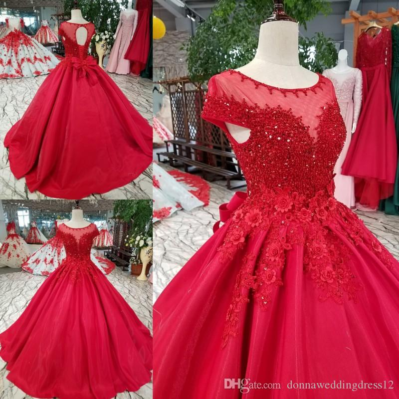 Luxury Crystal Ball Gowns Evening Dress 2019 Sexy Red O-neck Corset Back Beads Evening Dresses Women Formal Party Dresses Evening Gowns