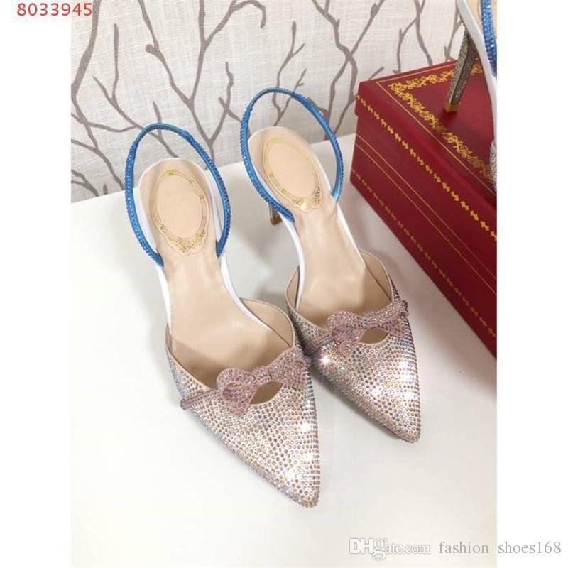Kadınlar için kristal sandal ile yeni yay 2019, Trend düşük kesim, sivri yüksek topuklu sandalet topuk yüksekliği 7.5 cm