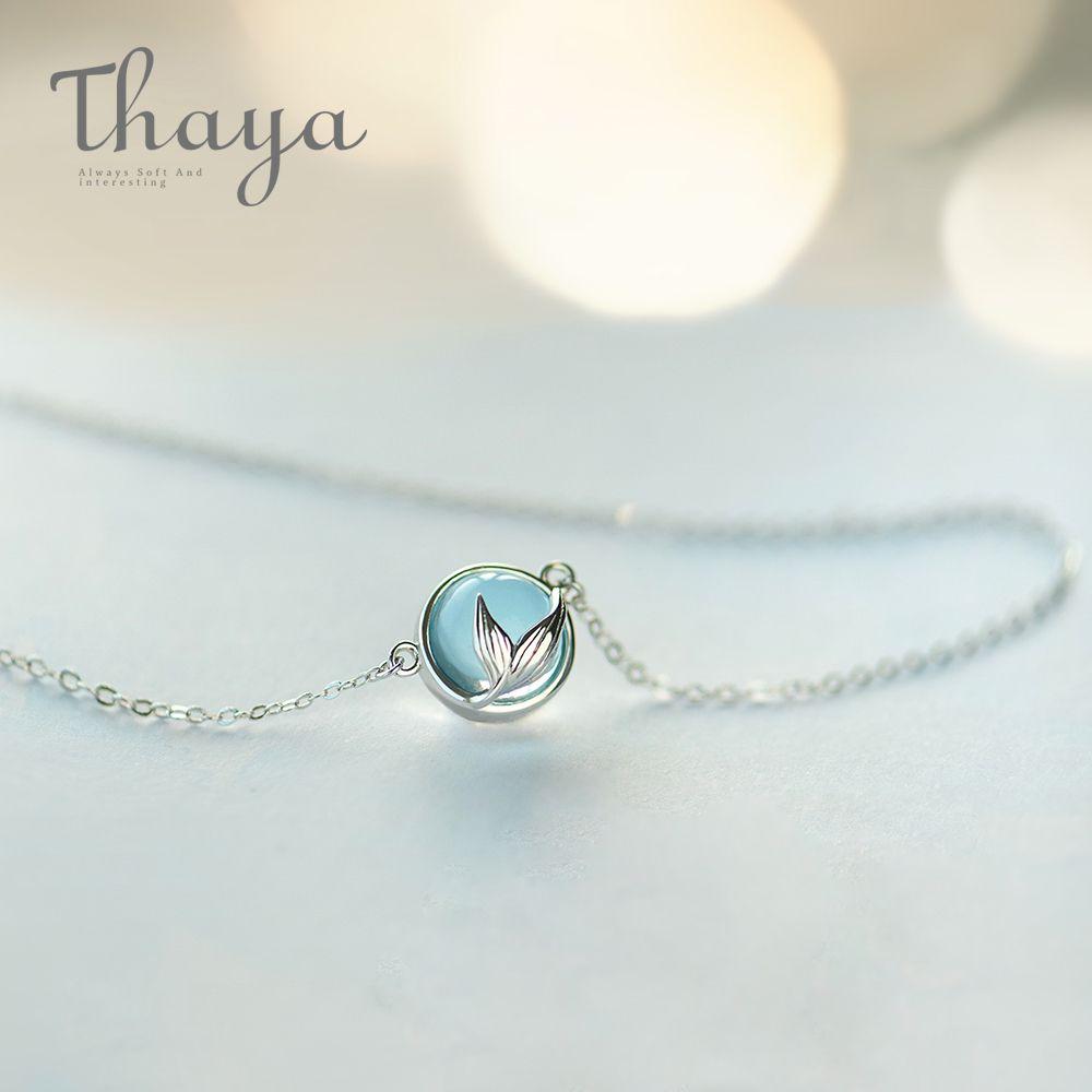 Kadınlar Şık Takı Hediyesi için Thaya Mermaid Köpük Kabarcık Tasarım Kristal Kolye S925 gümüş Denizkızı Kuyruk Mavi kolye kolye