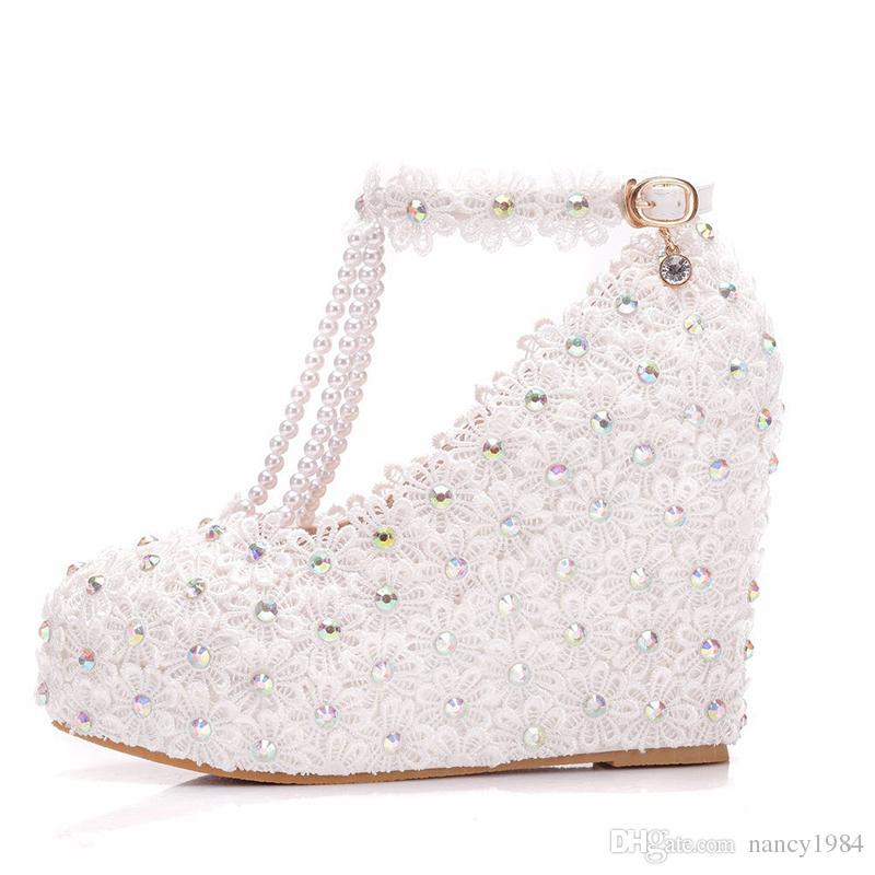 Handmade White Lace Wedding Shoes with T-Strap Buckle Straps 11cm Wedge High Heel Bridal Dress Shoes AB Crystal Women Pumps