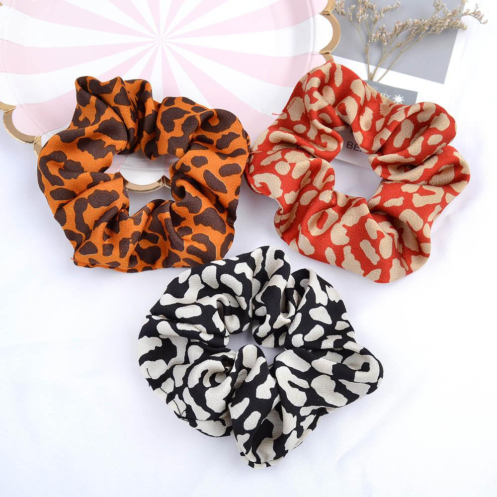 Leopard Striped Scrunchy Hairbands Women Dot Elastic Hair Bands Rubber Ponytail Holder Rope Ties Girls Fashion Hair Accessories GGA3227-2
