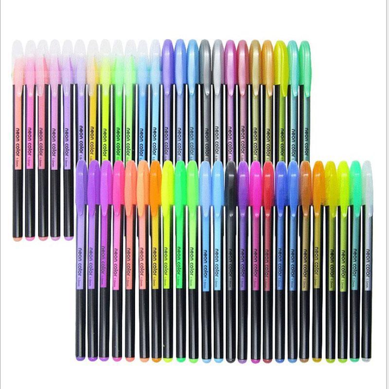 48 colores Conjunto de plumas de gel, Glitter Gel Pen para Libros para colorear adultos Revistas Dibujo Dibujo Doodling Art Markers